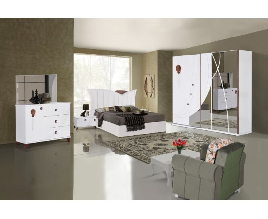 OMS 330 Beyaz Yatak Odası Takımı